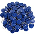 UHPPOTE Proximity EM4100 EM4102 125KHz RFID ID Card Tag Token Key Chain Keyfob Read Only Color Blue Pack of 100