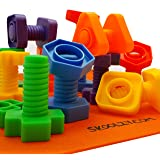 Jumbo Nuts and Bolts Set with Backpack - 24 pc - Occupational Therapy - Matching Fine Motor Toy for Toddlers Preschoolers