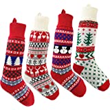 Bstaofy 4 Pack 22'' Christmas Stockings Stretchable Handmade Woven Snowflakes and Reindeer Assorted Xmas Tree Hanging Decorat