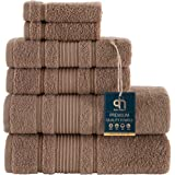 Qute Home Spa & Hotel Towels 6 Piece Towel Set, 2 Bath Towels, 2 Hand Towels, and 2 Washcloths - Brown