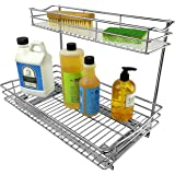 Lynk Professional Roll Out Under Sink Cabinet Organizer - Pull Out Two Tier Sliding Shelf - Chrome - Multiple Sizes