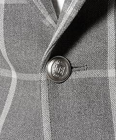 Polyester Cotton Windowpane Hopsack Blazer 3222-186-0251: Grey