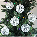 Festive Season 12pk 80mm Transparent Swirl Christmas Tree Ball Ornaments, White
