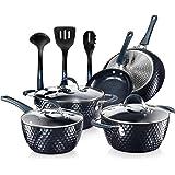Nutrichef Nonstick Cookware Excilon Home Kitchen Ware Pots & Pan Set with Saucepan Frying Pans, Cooking Pots, Lids, Utensil P