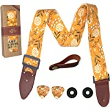 Guitar Strap Cotton Yellow Spring Blossom Flowers Includes 2 Picks + Strap Locks + Strap Button. For Bass, Electric & Acousti
