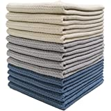 Polyte Premium Microfiber Kitchen Dish Hand Towel Waffle Weave 12 Pack (40 x 71 cm, Dark Blue, Gray, Off White)