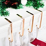 Beyond Your Thoughts Christmas Stocking Holder Hook Fireplace Gold Set of 4