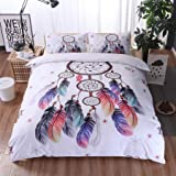 A Nice Night Dreamcatcher Printed Bohemia Duvet Cover Set Queen Size, Boho Dream Catcher Quilt Cover Bedding Sets,Twin