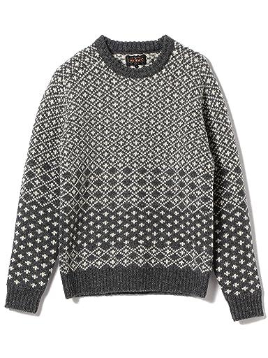 Wool Snowflake Pattern Crewneck Sweater 11-15-0870-048: Charcoal