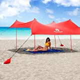 Red Suricata Family Beach Sunshade - Sun Shade Canopy | UPF50 UV Protection | Tent with 4 Lightweight Aluminum Poles, 4 Sandb