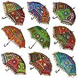 Mycrafts Indian Handmade Designer Cotton Fashion Multi Colored Umbrella Embroidery Boho Umbrellas Parasol 5 Pcs Lot