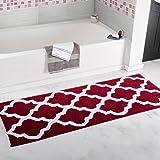 "Lavish Home Trellis Bathroom Mat, Burgundy, 24"" x 60"""
