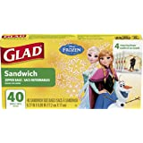 Glad Food Storage Bags, Sandwich Size Zipper Bags, Disney Frozen, 40 Count