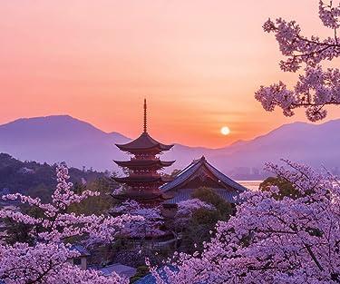 世界遺産  iPhone/Androidスマホ壁紙(960×800)-1 - 桜色の厳島神社五重塔の夕景