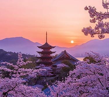 世界遺産  iPhone/Androidスマホ壁紙(960×854)-1 - 桜色の厳島神社五重塔の夕景