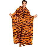 Alexander Del Rossa Unisex Lounging Poncho with Hood, Meditation Wearable Blanket Robe