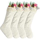 (Pack 4, Length 46cm, Width 15cm, Ivory) - Pack 11cm Unique Ivory White Knit Christmas Stockings