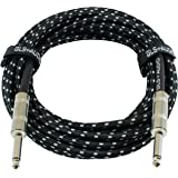 GLS Audio 6.1m Guitar Instrument Cable - 1/4-Inch TS to 1/4-Inch TS 6.1m Black Grey Tweed Cloth Jacket - 6.1m Pro Guitar Cord