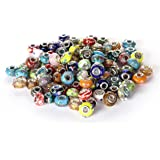 BRCbeads Top Quality 100Pcs Mix Silver Plate STYLE4 Murano Lampwork European Glass Crystal Charms Beads Spacers Fit Troll Cha