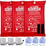 [Pack of 3] Fire Blanket Fire Suppression Blanket with Fire Protective Gloves and Hooks -Suitable for Camping, Grilling, Kitc