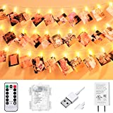 VNSG 40 LED Photo Clip String Lights for Bedroom Wall Decor┃Battery or Plug In┃Fairy Lights to Hang Pictures, Christmas Cards