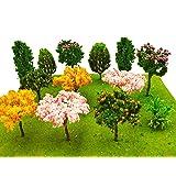 MOMOONNON 16 Pcs Miniature Fairy Garden Tree Plant Ornamentm, Mixed Model Trees 1-3 Inches, Miniature Dollhouse Pots Decor Mo