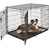 Large Dog Crate | Midwest iCrate Double Door Folding Metal Dog Crate | Divider Panel, Floor Protecting Feet, Leak-Proof Dog T