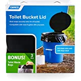 Camco Toilet Seat with Lid with Leak Proof Waste Bags - Transforms Standard 5 Gal. Buckets Into a Portable Toilet, Great for