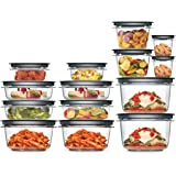 Rubbermaid 2108373 Premier Meal Prep Food Storage Containers, 28-Piece Set, Gray