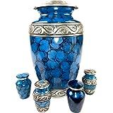 Cremation Urns for Human Ashes - Elegant Large Adult Urn + 4 Mini Keepsake Urns Set | Full-Size Funeral Metal Memorial Earn V
