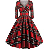 Wellwits Women's Plus Size 3/4 Sleeves Checked Print 1950s Vintage Dress