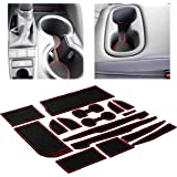 Custom Fit Cup Holder and Door Liner Accessories for 2018 2019 2020 Toyota Camry 16-pc Set (Red Trim)