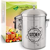 Kitchen Compost Bin Stainless Steel (Food Grade 410) Odorless Countertop Compost Pail -Bonus Charcoal Filters & Gardening Glo
