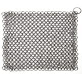 Hulless Chainmail Scrubber 8x6 inch Stainless Steel Cast Iron Cleaner, Durable Anti-Rust Scrubber for Pots, Skillets, Griddle