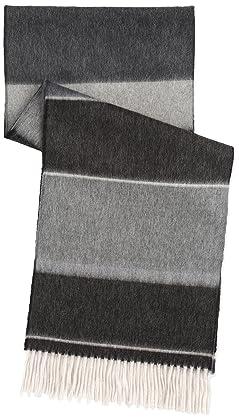 Wool Angora Stripe Scarf 118-35-0192: Charcoal