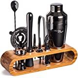 Mixology Bartender Kit: 10-Piece Black Bar Set Cocktail Shaker Set with Stylish Bamboo Stand | Perfect Home Bartending Kit wi