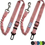 Zenify Dog Car Seat Belt Extendable Leash (2 Pack) - Bungee Lead for Dogs Puppies - Pet Adjustable Elastic Seatbelt Harness V