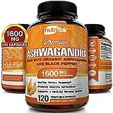 Organic Ashwagandha Capsules 1300MG with Black Pepper, 120 Veggie Capsules - Natural Root Powder Supplement for Stress & Anti