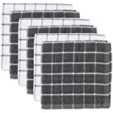 """DII Cotton Terry Windowpane Dish Cloths, 12 x 12"""" Set of 6, Machine Washable and Ultra Absorbent Kitchen Dishcloth-Gray"""