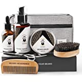 Premium Beard Grooming Kit with Upgraded Travel Bag - All Natural Beard Oil Balm Conditioner Wash Scissors Comb Boar Bristle