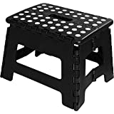 Foldable Stool for Kids and Adults - Black - Lightweight Plastic Step Stool - 28cm Wide and 20cm Tall - By Utopia Home