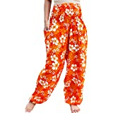 Full Funk Smock Waist Viscose Aladdin Rayon Pants Mixed Floral Artwork