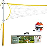 Franklin Sports Volleyball Net and Ball Set — Includes 1 Net with Stakes, 1 Volleyball, and 1 Ball Pump with Needle — Starter