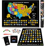 Scratch Off Map of United States + US National Parks Scratch Off Poster, 85 USA Landmarks, Travel Map Kit, 50 State Photo Wal