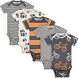 Gerber Baby Boys Organic 5-Pack Short-Sleeve Onesies Bodysuits, Grey/Ivory/Orange, 0-3 Months