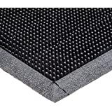 """Durable Corporation Heavy Duty Rubber Fingertip Entrance Mat, for Outdoor Areas, 16"""" x 24"""", Black, 1"""