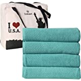 DOLLCENT- 600 GSM Jacquard Chevron 100% Combed Cotton Bath Towels Set- Hotel Spa Towel- Super Absorbent Ultra Soft Cotton Bat