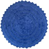 "DII 100% Cotton Crochet Round Luxury Spa Soft Bath Rug, for Bathroom Floor, Tub, Shower, Vanity, and Dorm Room, 28"" - Blueber"