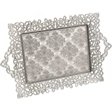 """Erbulus Turkish Serving Trays - (13.77"""" x 13.77"""") - Silver Tray Decorative - Table Centerpiece and Kitchen Tea Trays for Serv"""