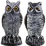 Hausse 2 Pack Fake Horned Owl Bird Scarecrow Decoy, Plastic Owl Bird Deterrents, Nature Enemy Pest Repellent for Outdoor Gard